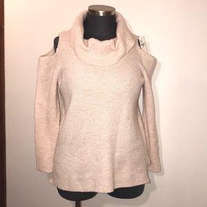 Lane Bryant Pink Cold Shoulder Cowl Neck Sweater